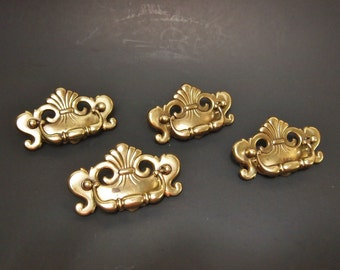 Free Shipping Vintage brass drawer pulls  Dresser or Cabinet Lot of 4