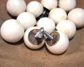 Lot of 12 white round wood ball door drawer knob pull hardware