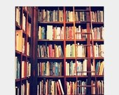 Holiday Sale Dream Library: square fine art photograph print with books, bookshelves, ladder (colorful home library decor)