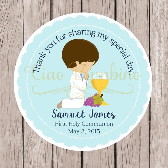 PRINTABLE Boys First Holy munion Favor Tags in Pastel Blue