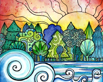 Sunset river trees forest from my Coloring book Joyful Inspirations published by Faithwords Publishing