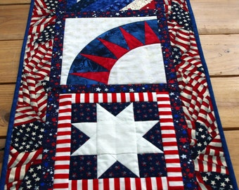Patriotic 4th of July Quilted Table Runner, Red, White, Blue, Quiltsy Handmade
