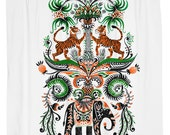 Tiger, Elephant, Indian, Folk Shower Curtain, Printed in USA