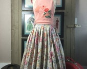 Sale 1950s skirt vintage skirt floral skirt circle skirt size medium 50s skirt full skirt flower print skirt