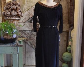 Sale 1950s wiggle dress 50s cocktail dress size medium Vintage 50s dress rockabilly dress hourglass dress
