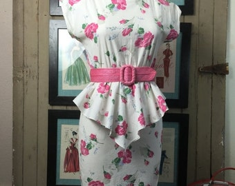 Sale 1980s dress peplum dress cotton dress summer dress 80s does the 40s size medium Vintage dress Byer too