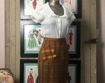 Fall sale 1950s pencil skirt 50s wool skirt size small Vintage plaid skirt alex coleman secretary skirt