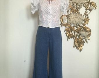 1970s blouse cotton blouse deadstock blouse puff sleeves blouse floral shirt size medium romance blouse