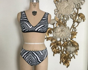 Fall sale 1950s lingerie set bra and panties zebra print vintage lingerie size small pin up lingerie betty page