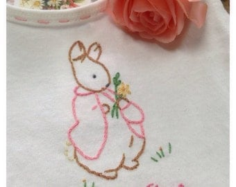 Mopsy Tail Bunny - Hand Embroidered Pinafore Dress - Beatrix Potter - Girl - Vintage Style