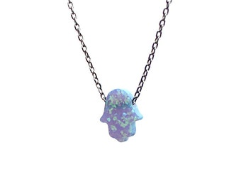 Opal Hamsa Necklace/Sterling Silver Cable Chain/Gift Ideas