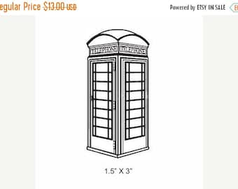 Xmas in July British Phone Booth Rubber Stamp 186