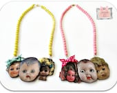 Creepy Cute Doll Head Necklace Antique baby doll babydoll  Old Shabby Chic Doll- Doll Parts Jewelry Wooden
