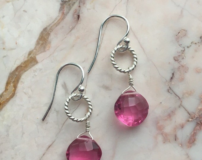 Bright Pink Quartz and Bali Silver Earrings