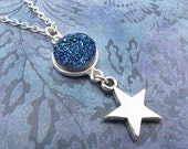 druzy necklace, blue druzy necklace, druzy star necklace, druzy jewelry, drusy necklace, silver star necklace, gift for her, indigo blue