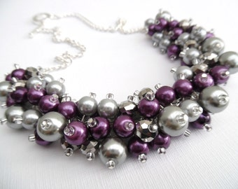 Set of 9 Pearl Beaded Necklaces, Plum and Gray Bridal Jewelry, Cluster Necklace, Chunky Necklace, Bridesmaid Gift, Custom Colours