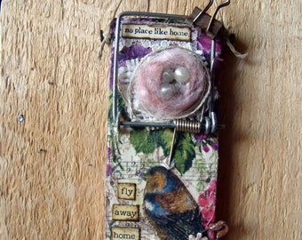 """Altered Mouse Trap """"Birdie Fly Home"""", Mixed Media, Art, Ornaments FREE SHIPPING!!"""