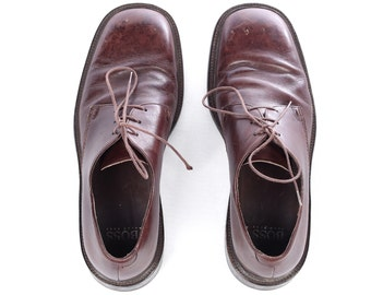 Men's OXFORD Brown Leather Shoes 90s HUGO BOSS Lace up Distressed Derby Formal Shoes High Quality sz Eur 42.5 , Us men 9, Uk 8.5