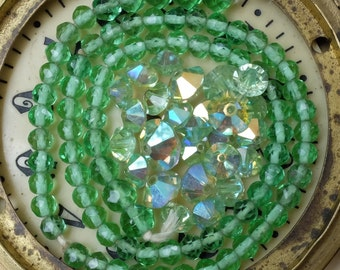 Vintage Green Glass Beads Supply Bicone Crystals