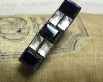 Antique Czechoslovakia Pin Black Clear Glass Stones