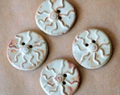 4 Bold and Primitive Handmade Ceramic Tribal Sun Buttons - Rustic Rust on Brown clay Stoneware Sun Buttons - perfect for button bracelets