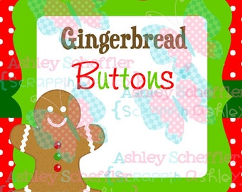 Gingerbread Buttons. Christmas Tags.  Gift Tag. Printable. Favor Tag. Tag. Square Tag. Printable Tag. Instant Download. PDF File