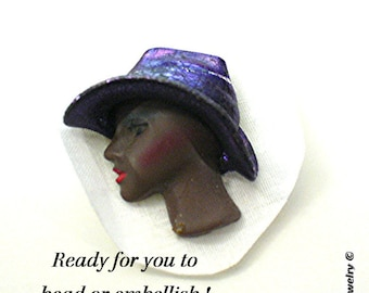 Resin Face ~ Beading Cabachon - Ethnic Face with Hat S-49