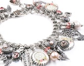 Dreamcatcher Bracelet, Feather Bracelet, Dream Catcher Jewelry, Silver Feather, Hippie Bracelet, Boho Bracelet, Pearl Bracelet
