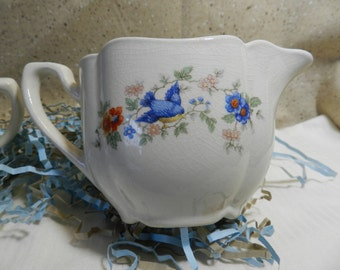 Blue bird sugar and creamer set