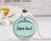 Round Medium Glass Bubble Pendant Necklace- Gypsy Soul