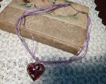 Destash Treasure - My Valentine, Lovely Dark Red Murano Glass Heart Pendant with Inclusions of Light Green, Lavender, Silk Ribbon Necklace