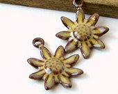 Rustic Yellow Flower Enamel Charms
