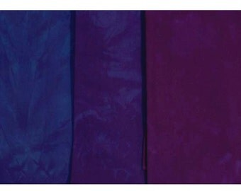 Hand Dyed Fabric - Pattys Favorite PURPLES purple- 3 pc Fat Quarter Gradation Bundle - Tuscan Rose