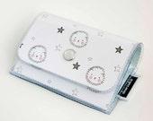 Handmade Vinyl Accordion Wallet - Adorable / small wallet, snap, gift, cute wallet, card case, vinyl wallet, womens wallet, hedgehog, kawaii