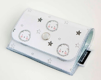 Handmade Vinyl Accordion Wallet - Adorable / small wallet, snap, gift, cute wallet, card case, vinyl wallet, womens wallet, hedgehog, kawaii