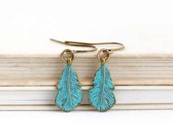 Feather Earrings -  Feather Jewelry - Bohemian Earrings - Green Earrings - Rustic Earrings - Boho Jewelry - Dangle Earrings - Gift For Her