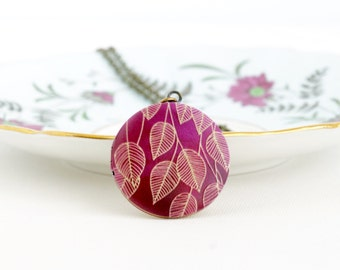 Burgundy Jewelry - Locket Necklace - Round Locket - Leaf Design - Picture Locket - Autumn Jewelry - Painted Locket - Gift For Her