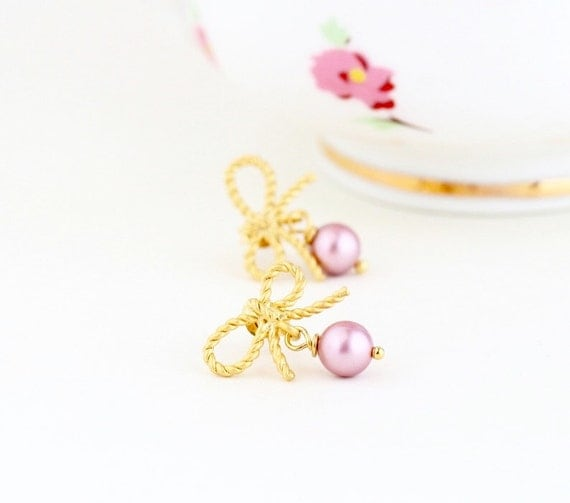 Gift For Her - Rose Pink Pearl Earrings - Gold Wedding Earrings - Gold Bow Earrings - Bridal Earrings - Bridesmaids Gifts - Gift For Woman