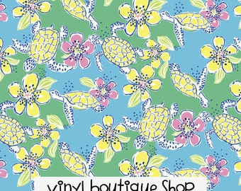"Moving Slowly Turtle Floral Lilly Inspired HTV, pattern vinyl, sheet size 12""x12"", Lily P adhesive printed patterned craft vinyl LP-69"