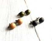 Set of 3 Studs Earrings, Polymer Clay, EARTH, green, dark brown, golden yellow