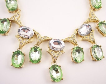 Scaasi Bib Rhinestone Statement Necklace