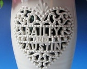 Papel Picado Style Wedding Vase - Hand Carved with Names