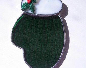 Green Mitten Ornament with holly, Tiffany Style Stained Glass Glove,