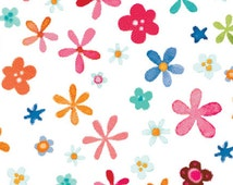 Red Rooster Fabrics, Rainbow Woodland, Colorful Star Flowers on white, yard