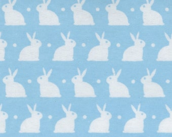 Dreamland Bunnies, Bedtime Bunnies on Blue FLANNEL, yard