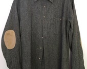 Vintage men's Pendleton pure virgin wool 80s stylish hipster shirt, leather patches, leather patches on elbows