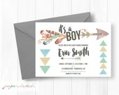 Tribal Baby Shower Invitation - Arrows & Feathers - Aztec Baby - Boho Chic - Pow Wow - Baby Boy - Natural Colors - Digital File or Printed