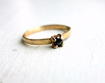 Tiny Black Diamond and 14k Gold Ring