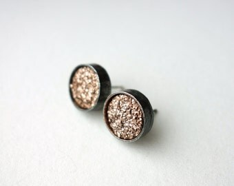 Drusy Deluxe: Simple Rose Gold Drusy Bezel Studs