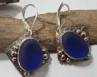 Sterling Silver Bezel Set Cobalt Blue Sea Glass Earrings Sea Glass Jewelry E-140